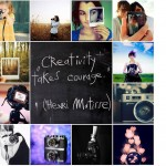 montage of artistic photos of cameras, supporting creativity and bravery