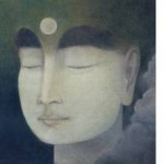 Face in the midst of full moon and clouds zen and faith
