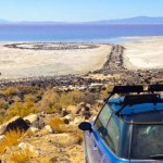 car driving toward the spiral jetty