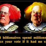 The Koch Brothers as clowns