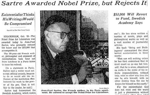 article about Jean Paul Sartre Nobel Prize Refusal