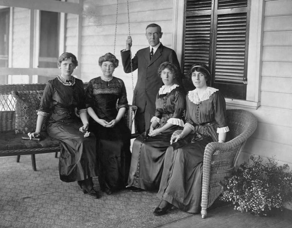 Woodrow Wilson, who supported the signing of Mother's Day as National Holiday, with daughters and wife